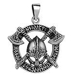 schmuxxi Herren Anhänger 925 Silber Wikinger Helm mit Axt und...