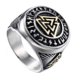 HIJONES Herren Valknut Nordischer Wikinger Odin Symbol Ring aus...